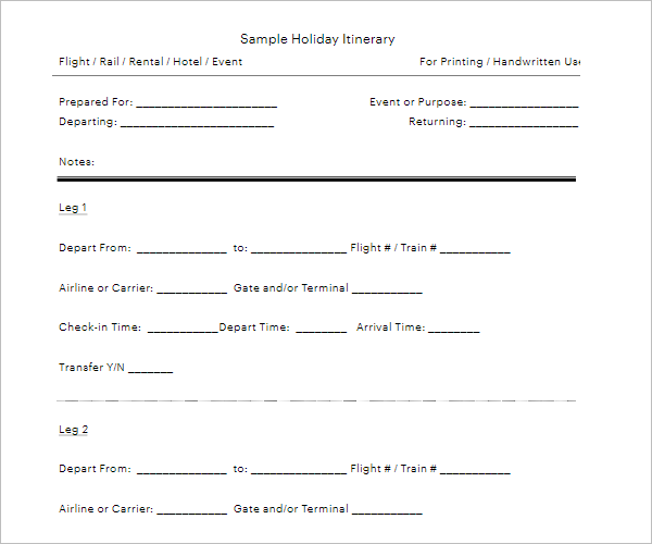Sample Blank Holiday Itinerary Template