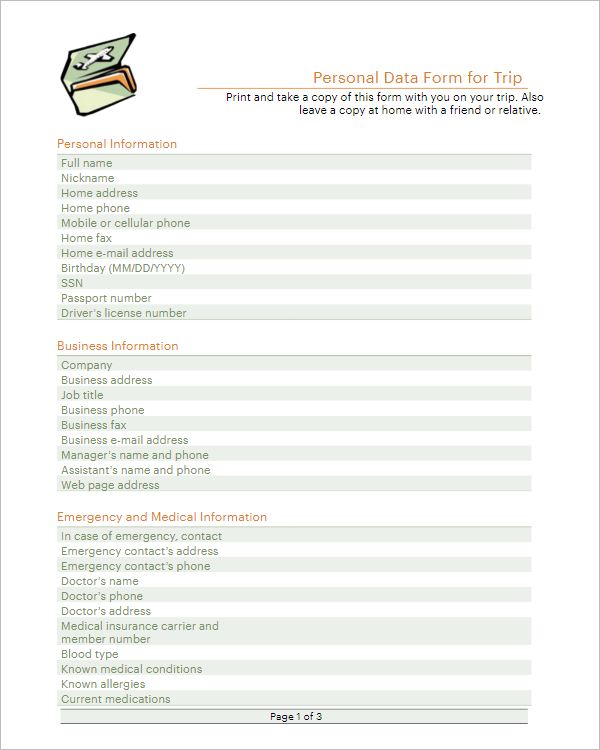 Sample Blank Itinerary Template Word