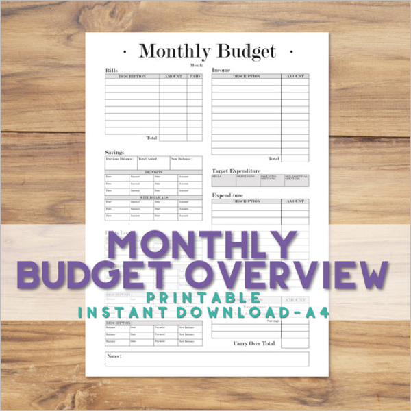 Sample Budget Tracking Template