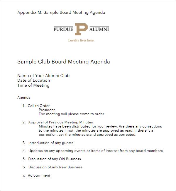 Sample Club Board Meeting Template