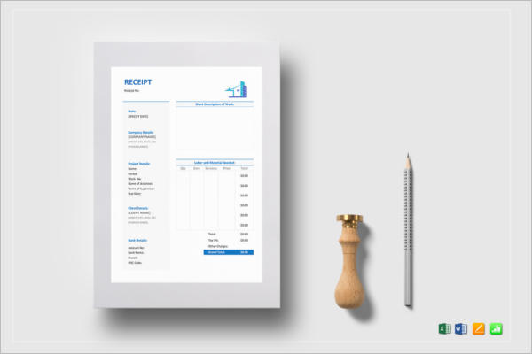 Sample Contractor Receipt Template