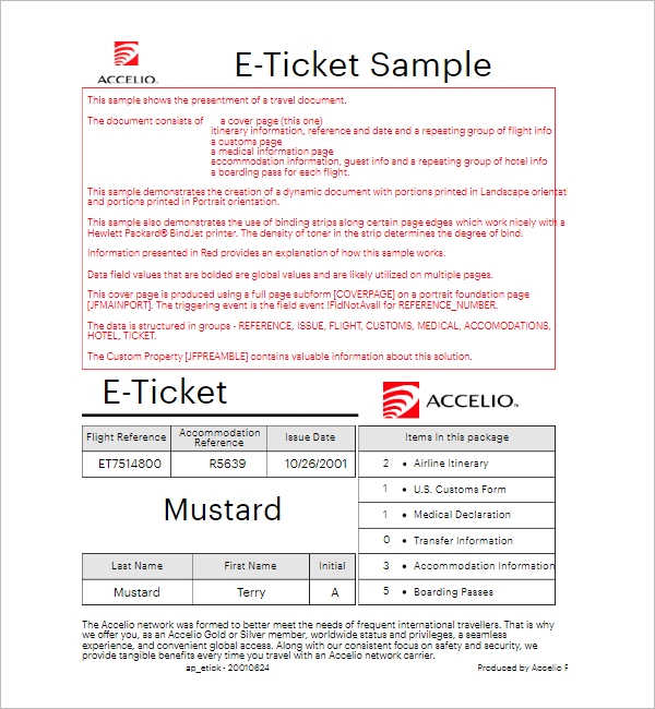 Sample E Ticket Itinerary Template