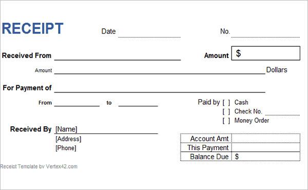 Sample Format Money Receipt