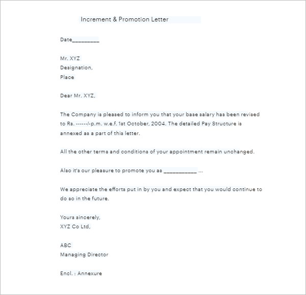 Sample Letter For Promotion Increment