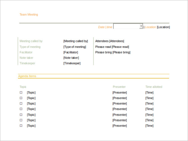 Sample Meeting Itinerary Template Format