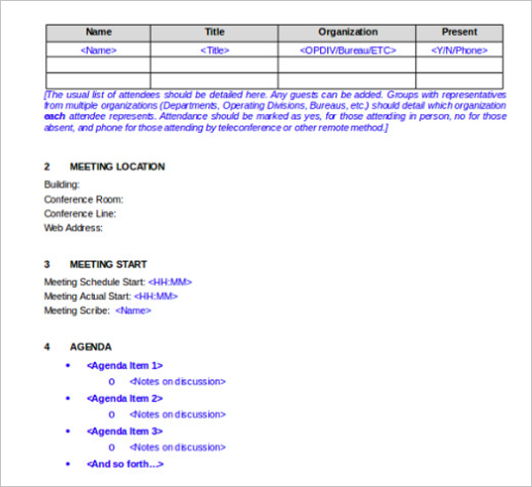 Sample Meeting Minutes Itinerary Template