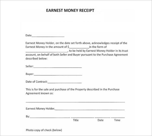 Sample Money Receipt Template
