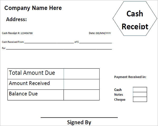 Sample Money Received Receipt Template
