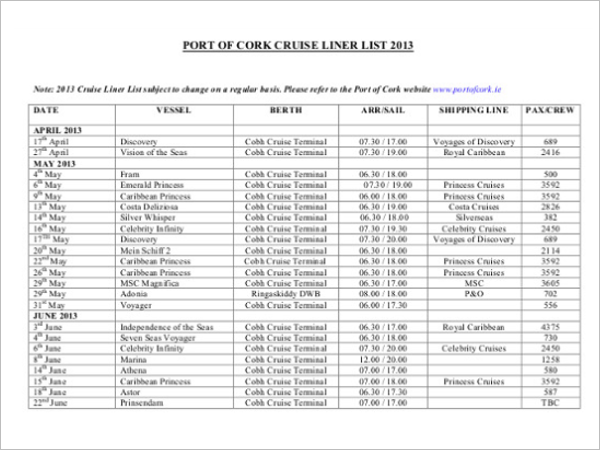 Sample Port Cruise Schedule Template
