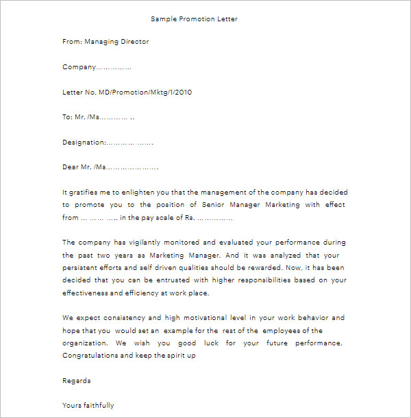 Congratulations Letter On Promotion from www.creativetemplate.net