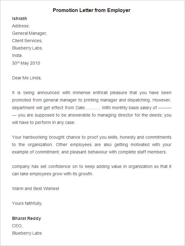 Sample Promotion Letter from Employee
