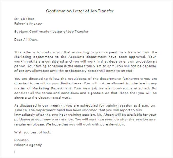 Sample Request Letter For Transfer