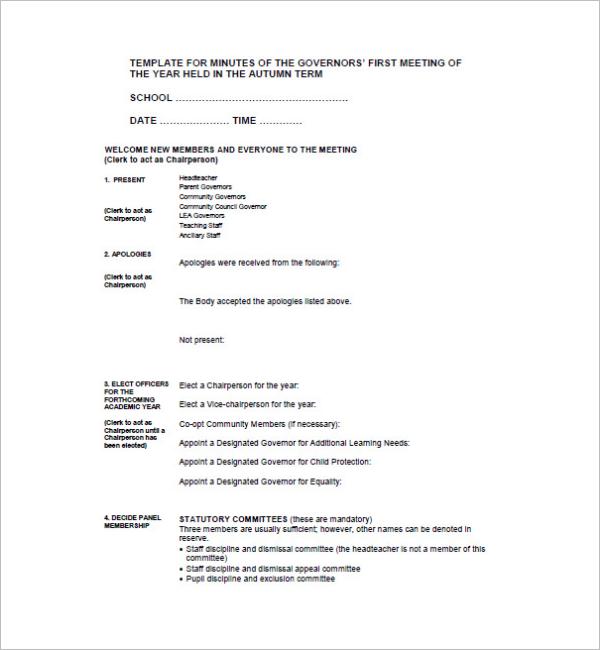 Sample School Meeting Minutes Template