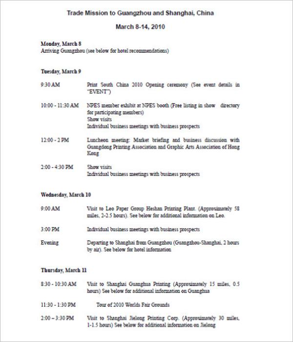 Sample Trip Agenda Template