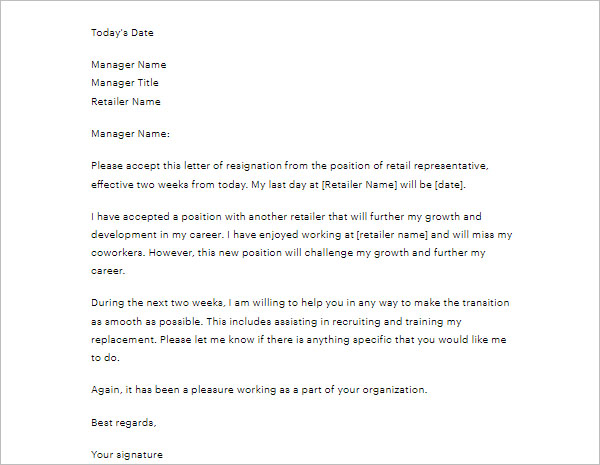 Sample Two Weeks Notice Letter Template
