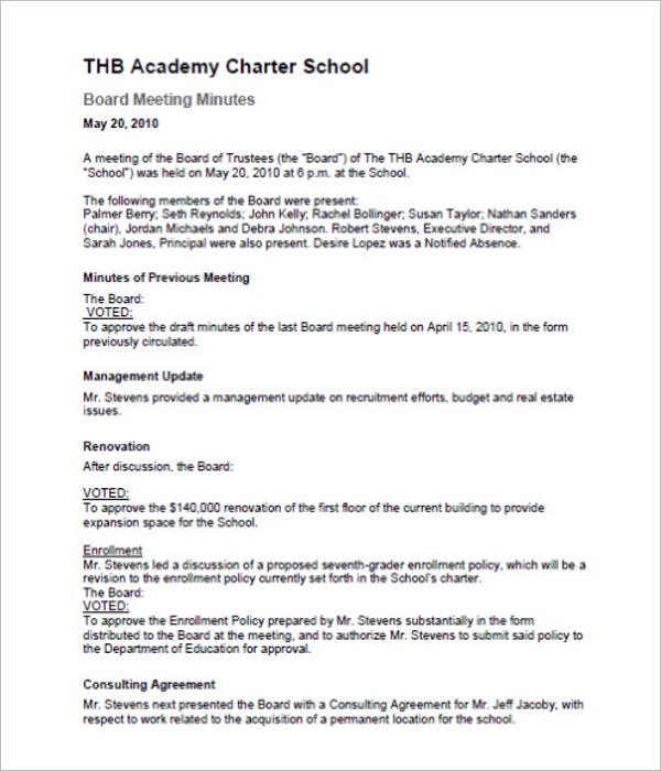 School Board of Directors Meeting Minutes Template