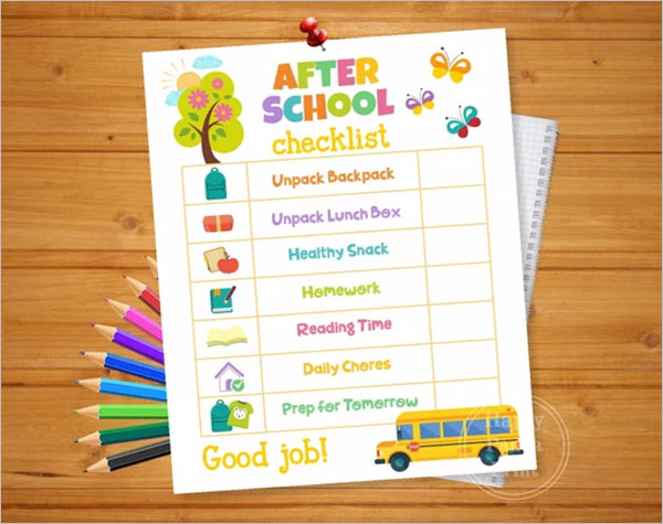 School Daily Checklist Template