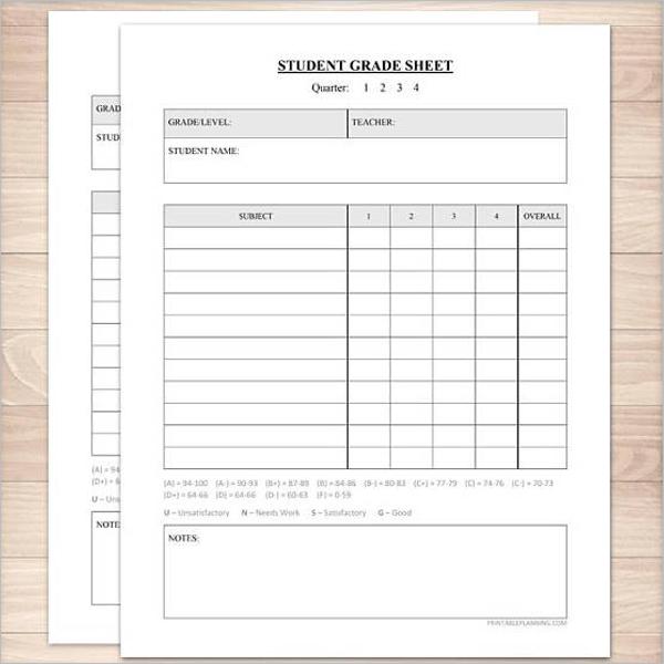 School Grade Sheet Template