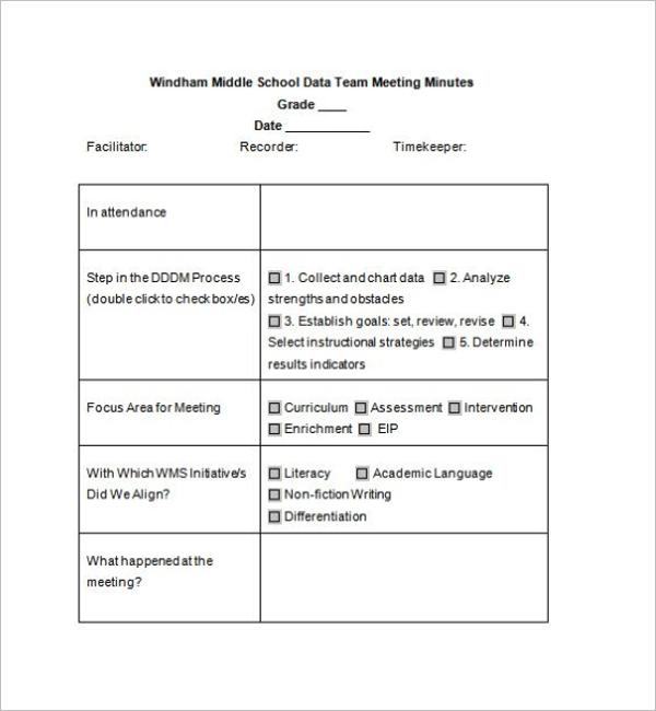 School Meeting Minutes Template Sample