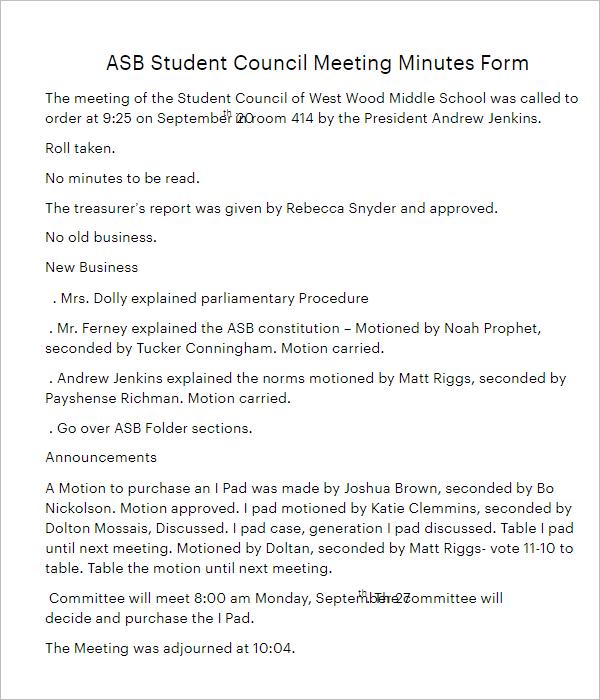 School Monthly Meeting Agenda Template