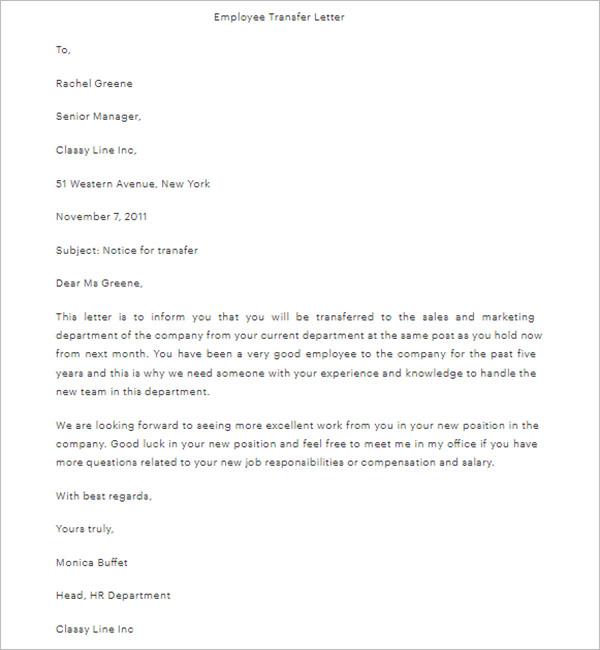 School Transfer Letter Template