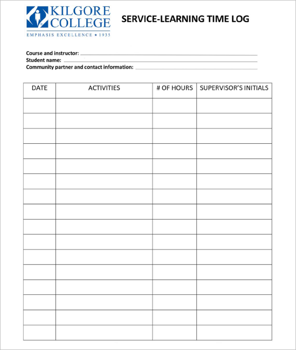 Service Learning Time Daily Log Template