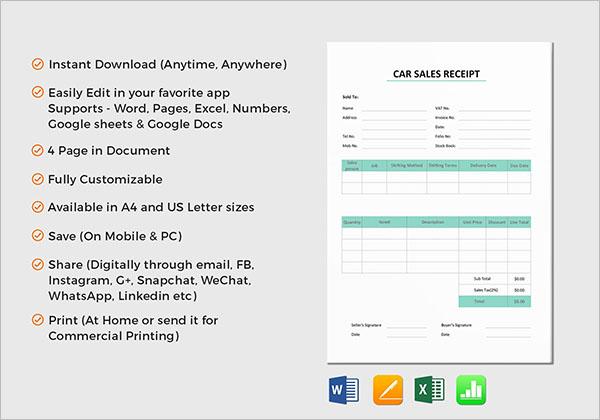 Service Receipt Template PDF