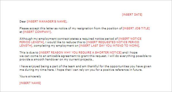 Shorten Notice Period Letter Template