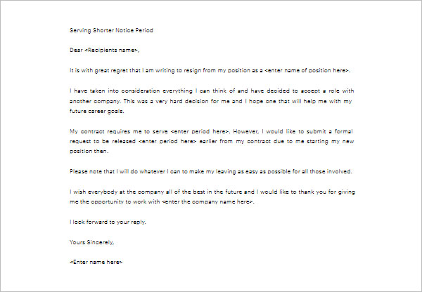 Shorter Notice Period Letter Template Free