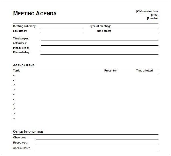 Simple Agenda Template Google Doc