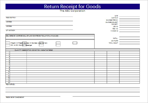 Simple Delivery Receipt Template
