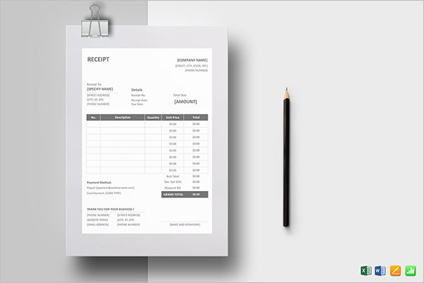 Simple Deposit Receipt Template