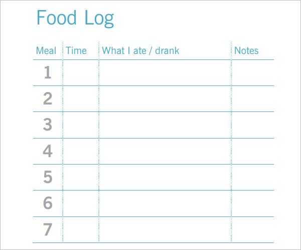 SimpleFood Log Template PDF