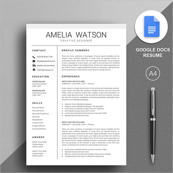 Simple Google Docs Template