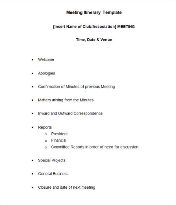 Simple Meeting Itinerary Template Download