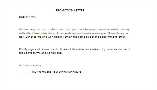 Simple Promotion Letter Template