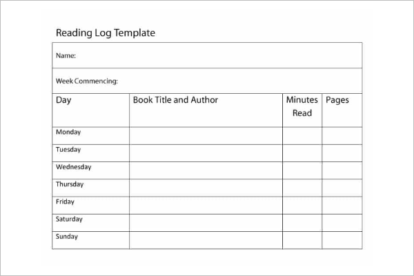 Simple Reading Log Template