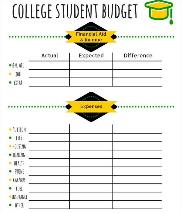 Simple Student Budget Template