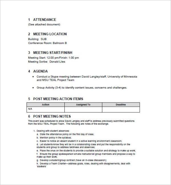 Simple Team Meeting Minutes Template