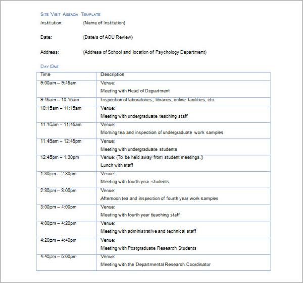 Site Visit Agenda Template