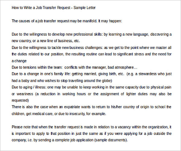 Small Business Transfer Letter Template