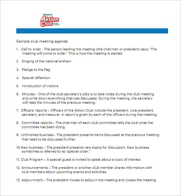 Social Club Meeting Agenda Template