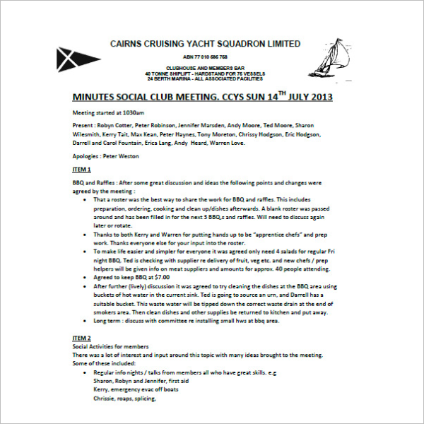 Club meeting minutes template 9+ free sample, example format.