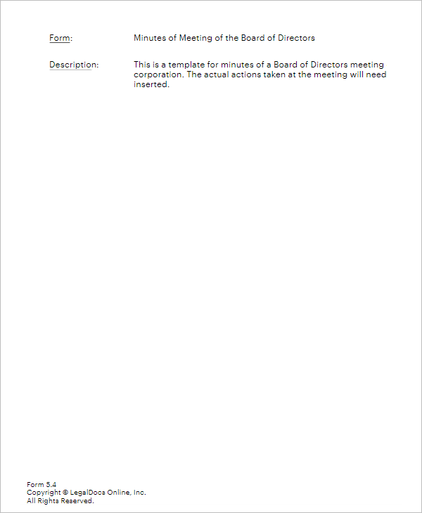 Special Board Meeting Template