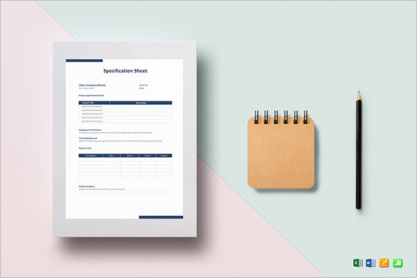 Specification Sheet Template Excel