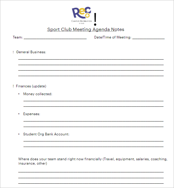 Sports Club Meeting Minutes Template