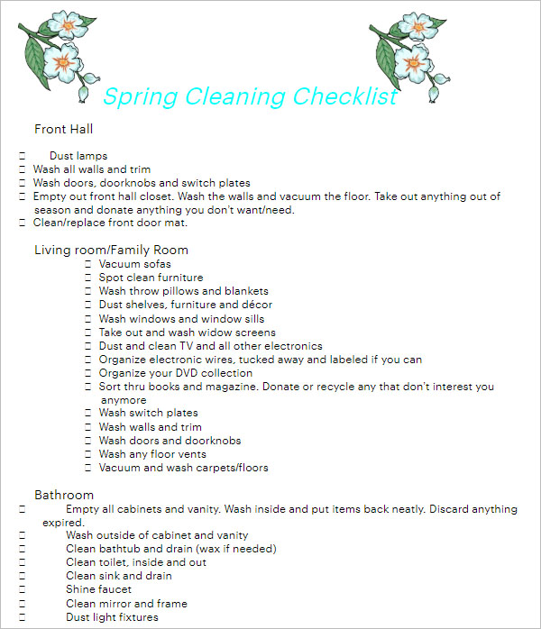 Spring Cleaning Checklist Template Free Download