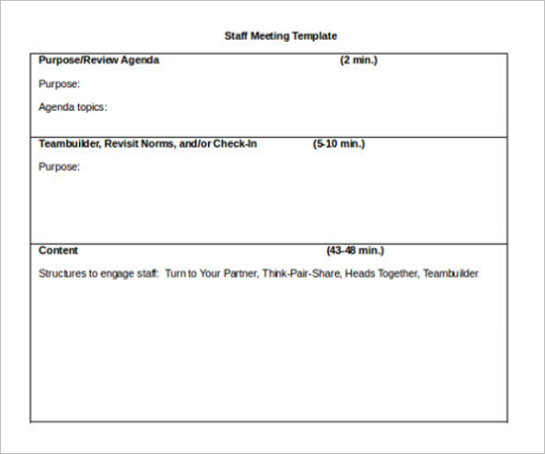 Staff Meeting Itinerary Template