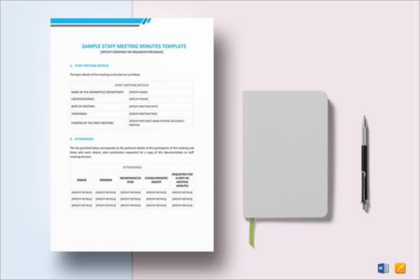 Staff Minutes of Meeting Template in Word