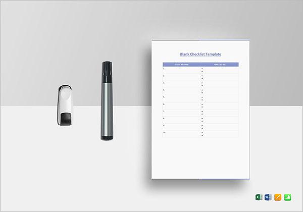 Student Blank Checklist Template